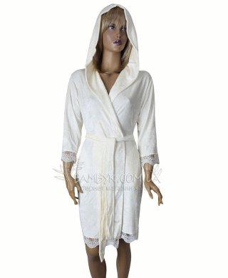0281 халат женский короткий (капюшон )Nusa