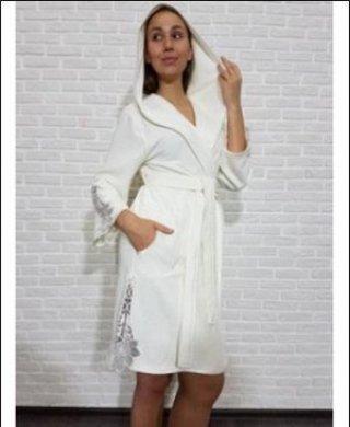 0375 халат женский короткий (капюшон) Nusa