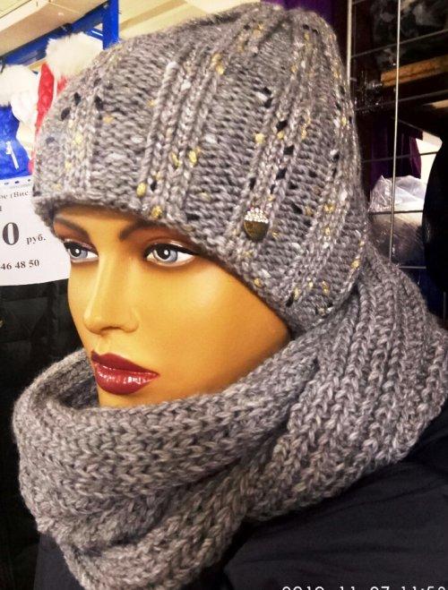 129 комплект женский(шапка+снуд)